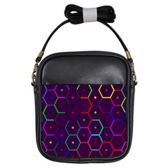 Color Bee Hive Pattern Girls Sling Bags