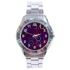 Color Bee Hive Pattern Stainless Steel Analogue Watch