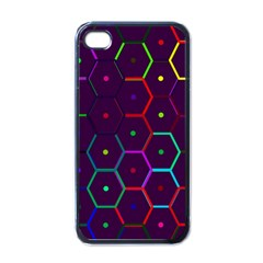 Color Bee Hive Pattern Apple Iphone 4 Case (black)
