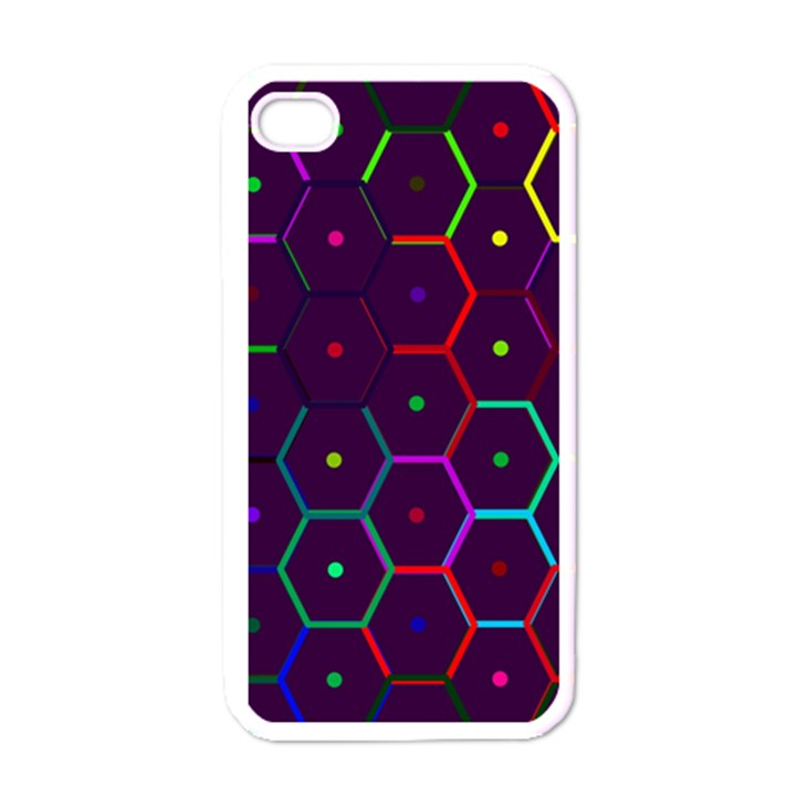 Color Bee Hive Pattern Apple iPhone 4 Case (White)
