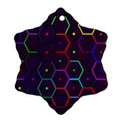 Color Bee Hive Pattern Snowflake Ornament (two Sides)