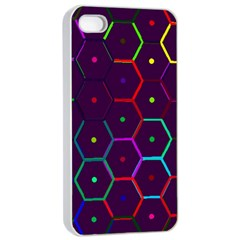 Color Bee Hive Pattern Apple Iphone 4/4s Seamless Case (white)