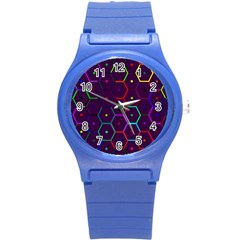 Color Bee Hive Pattern Round Plastic Sport Watch (s)