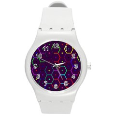 Color Bee Hive Pattern Round Plastic Sport Watch (m)