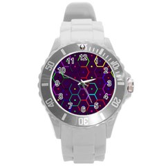 Color Bee Hive Pattern Round Plastic Sport Watch (L)