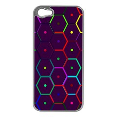 Color Bee Hive Pattern Apple Iphone 5 Case (silver)