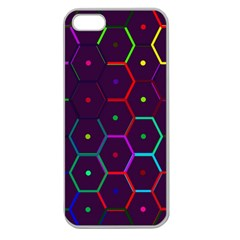 Color Bee Hive Pattern Apple Seamless Iphone 5 Case (clear)