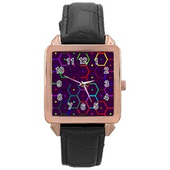 Color Bee Hive Pattern Rose Gold Leather Watch