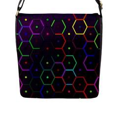 Color Bee Hive Pattern Flap Messenger Bag (l)
