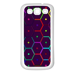 Color Bee Hive Pattern Samsung Galaxy S3 Back Case (white)