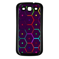 Color Bee Hive Pattern Samsung Galaxy S3 Back Case (black)