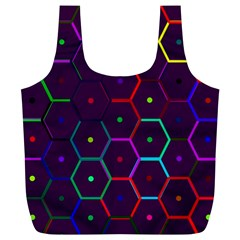 Color Bee Hive Pattern Full Print Recycle Bags (l)