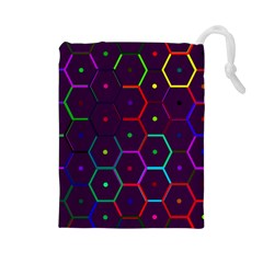 Color Bee Hive Pattern Drawstring Pouches (large)