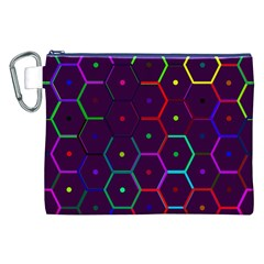 Color Bee Hive Pattern Canvas Cosmetic Bag (xxl)