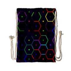 Color Bee Hive Pattern Drawstring Bag (small)