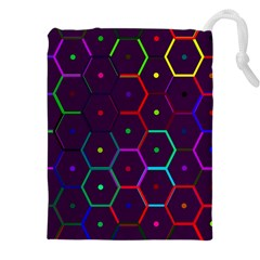 Color Bee Hive Pattern Drawstring Pouches (XXL)
