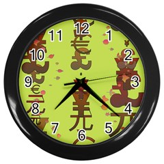 Set Of Monetary Symbols Wall Clocks (black)