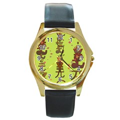 Set Of Monetary Symbols Round Gold Metal Watch