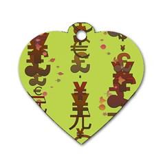 Set Of Monetary Symbols Dog Tag Heart (one Side)