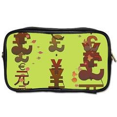 Set Of Monetary Symbols Toiletries Bags