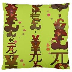Set Of Monetary Symbols Large Cushion Case (one Side)