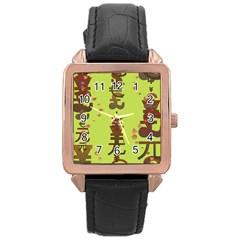 Set Of Monetary Symbols Rose Gold Leather Watch