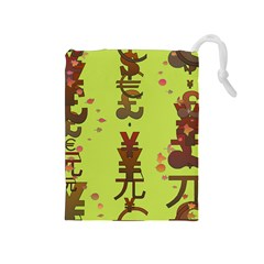 Set Of Monetary Symbols Drawstring Pouches (medium)