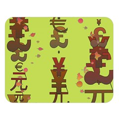 Set Of Monetary Symbols Double Sided Flano Blanket (large)