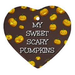 Scary Sweet Funny Cute Pumpkins Hallowen Ecard Ornament (heart)