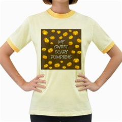 Scary Sweet Funny Cute Pumpkins Hallowen Ecard Women s Fitted Ringer T Shirts