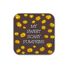 Scary Sweet Funny Cute Pumpkins Hallowen Ecard Rubber Square Coaster (4 Pack)