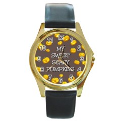 Scary Sweet Funny Cute Pumpkins Hallowen Ecard Round Gold Metal Watch