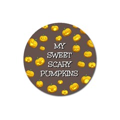 Scary Sweet Funny Cute Pumpkins Hallowen Ecard Magnet 3  (round)