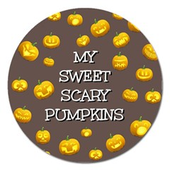 Scary Sweet Funny Cute Pumpkins Hallowen Ecard Magnet 5  (round)