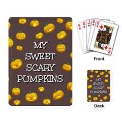 Scary Sweet Funny Cute Pumpkins Hallowen Ecard Playing Card