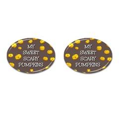 Scary Sweet Funny Cute Pumpkins Hallowen Ecard Cufflinks (oval)
