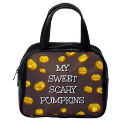 Scary Sweet Funny Cute Pumpkins Hallowen Ecard Classic Handbags (one Side)