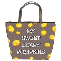 Scary Sweet Funny Cute Pumpkins Hallowen Ecard Bucket Bags