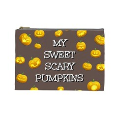 Scary Sweet Funny Cute Pumpkins Hallowen Ecard Cosmetic Bag (large)