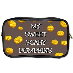Scary Sweet Funny Cute Pumpkins Hallowen Ecard Toiletries Bags 2 Side