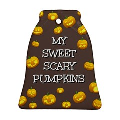 Scary Sweet Funny Cute Pumpkins Hallowen Ecard Bell Ornament (two Sides)