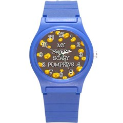 Scary Sweet Funny Cute Pumpkins Hallowen Ecard Round Plastic Sport Watch (s)