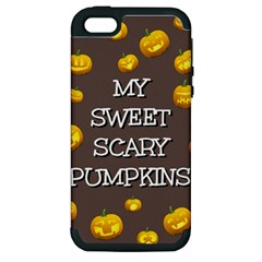 Scary Sweet Funny Cute Pumpkins Hallowen Ecard Apple Iphone 5 Hardshell Case (pc+silicone)