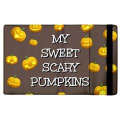 Scary Sweet Funny Cute Pumpkins Hallowen Ecard Apple Ipad 3/4 Flip Case