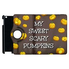 Scary Sweet Funny Cute Pumpkins Hallowen Ecard Apple Ipad 3/4 Flip 360 Case