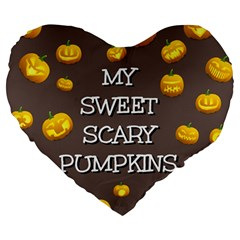 Scary Sweet Funny Cute Pumpkins Hallowen Ecard Large 19  Premium Heart Shape Cushions