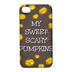 Scary Sweet Funny Cute Pumpkins Hallowen Ecard Apple Iphone 4/4s Hardshell Case With Stand