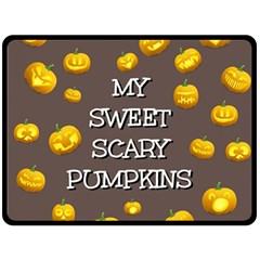 Scary Sweet Funny Cute Pumpkins Hallowen Ecard Double Sided Fleece Blanket (large)