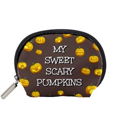 Scary Sweet Funny Cute Pumpkins Hallowen Ecard Accessory Pouches (small)