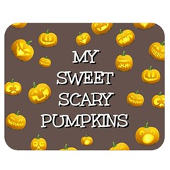 Scary Sweet Funny Cute Pumpkins Hallowen Ecard Double Sided Flano Blanket (medium)